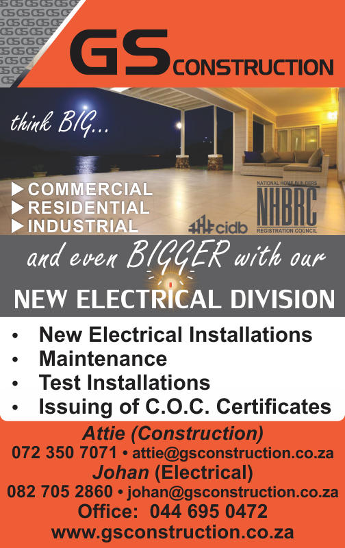New electrical installations and issuing of C.O.C. certificates by GS Construction, Mossel Bay, Western Cape